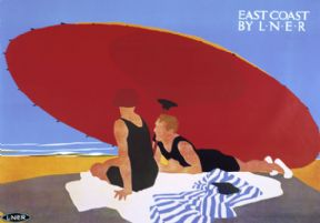 East Coast by LNER. Vintage Railway Travel poster by Tom Purvis. 1935